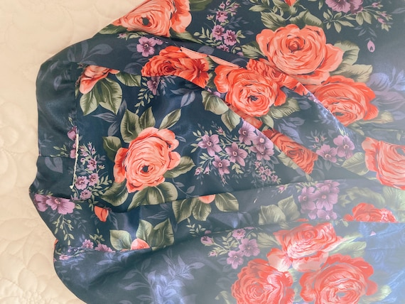 Navy Blue Floral Robe, Blue and Floral Robe, Blue… - image 8