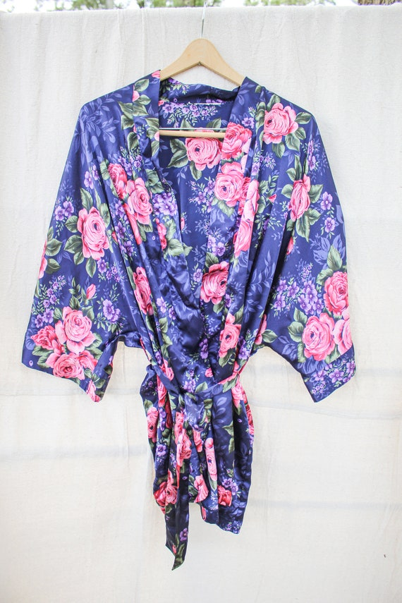 Navy Blue Floral Robe, Blue and Floral Robe, Blue… - image 2