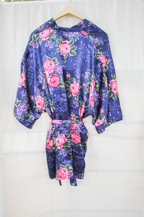 Navy Blue Floral Robe, Blue and Floral Robe, Blue… - image 3