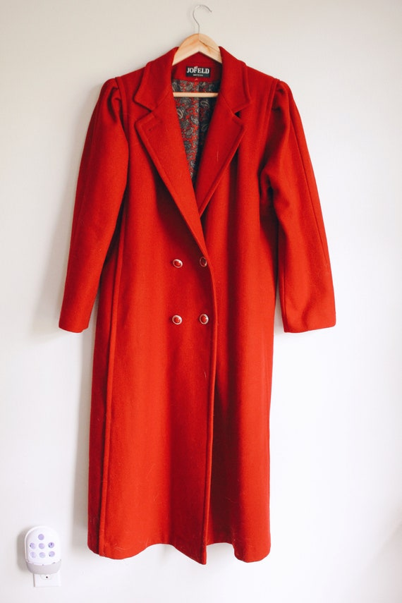 Vintage Wool Pea Coat, Vintage Red Pea Coat, Long
