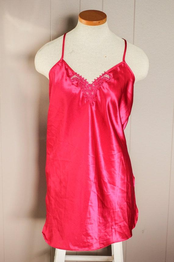 Hot Pink Slip Dress, Vintage Pink Slip, Pink Silk