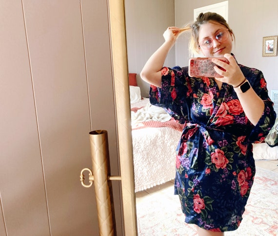Navy Blue Floral Robe, Blue and Floral Robe, Blue… - image 4