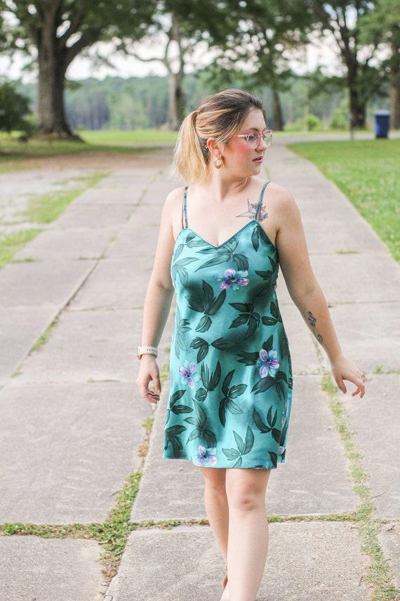 Teal Floral Slip, Vintage Teal Slip, Teal Slip Dr… - image 6