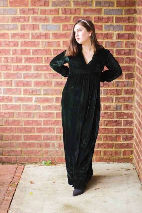 Green Velvet Full Length Gown, Long Sleeved Velvet