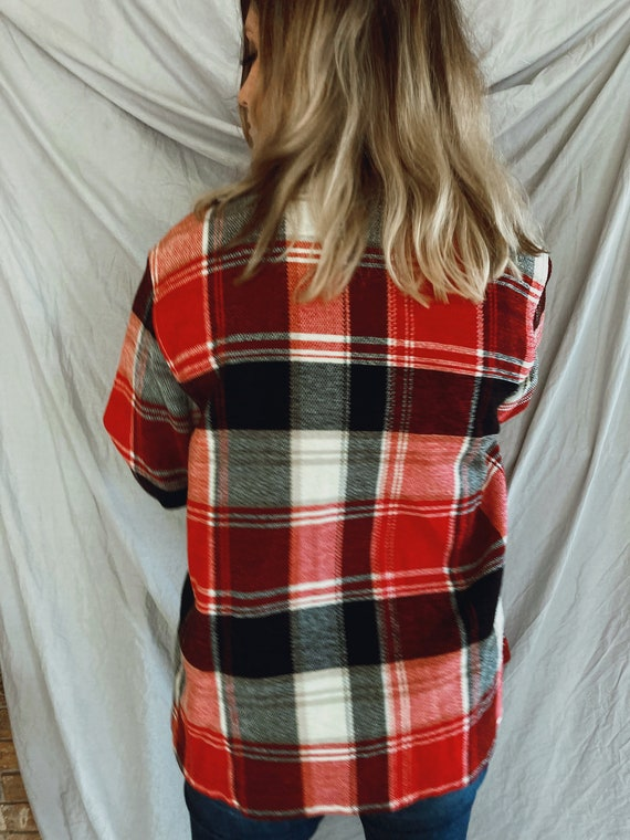 Vintage Red and Black Flannel, Soft Plaid Flannel… - image 5