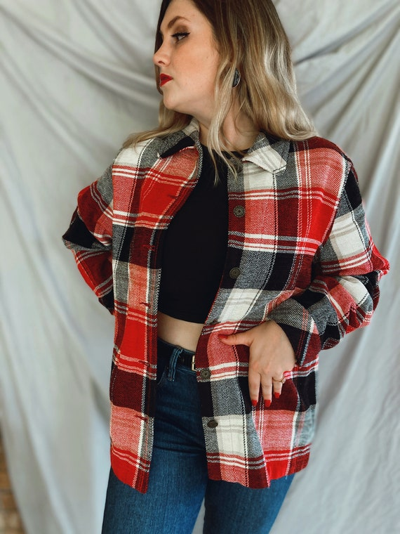 Vintage Red and Black Flannel, Soft Plaid Flannel… - image 2