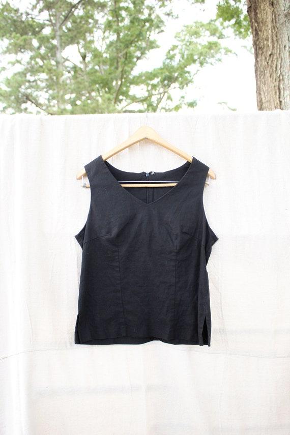 Black Linen Tank Top, Vintage Linen Shirt, Black L