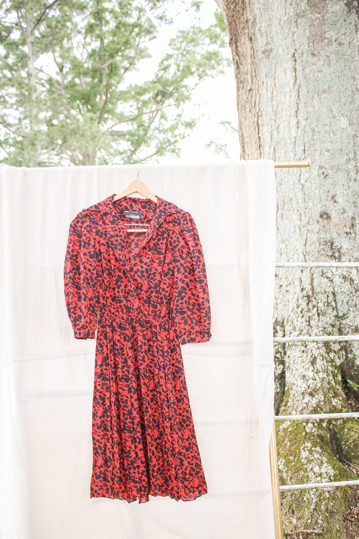 80s Dresses   Casual to Party Dresses Red  Black Floral Dress, 80S Retro Midi Alexis Fashions Inc Dress $0.00 AT vintagedancer.com
