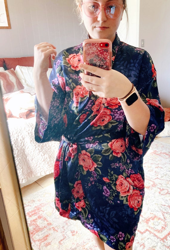 Navy Blue Floral Robe, Blue and Floral Robe, Blue… - image 7