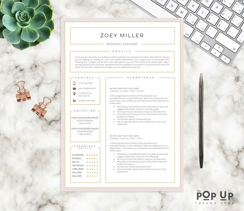 Professional CV Template Modern Resume 4 Page Instant Download Custom Word