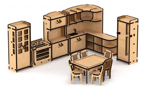 Furniture Set For Dollhouse Kitchen Diy 3d Puzzle Wooden Doll Etsy