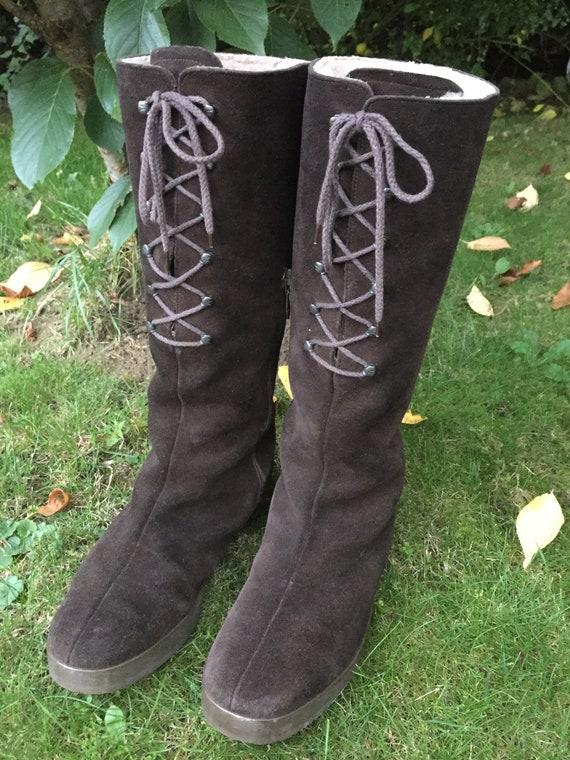 Stiefel 60er 70er Wildleder Fell Hippie Boots 40