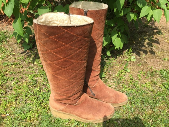 new arrival 1e843 cdfa9 Suede Boots Yeti Boots Boots 60s 70s Fell Hippie Boots 40 Moonboots Space  Age 41 Weddge Deposition
