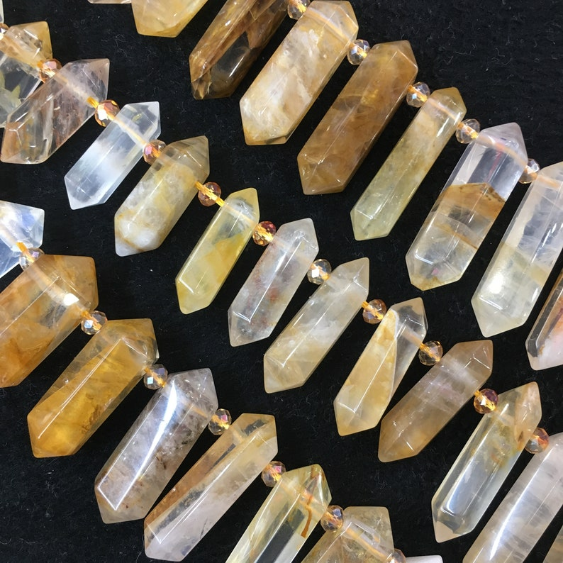 Healing Crystal Point Natural Yellow crystal Hexagonal Double Point Gemstone,Faceted Yellow crystal Quartz Crystal. Top Drilled Double