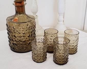 Smoked glass liqueur bottle with 4 glasses, pimpled glass