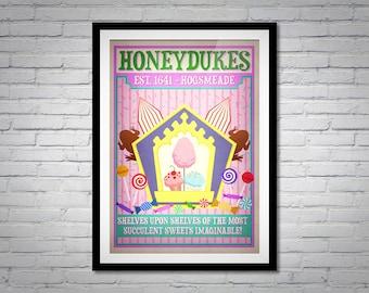 Honeydukes Diagon Alley Poster Print - Harry Pottery Movie Wall Art