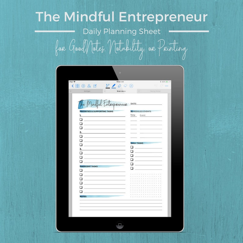 Daily Planning Page for Entrepreneurs  Printable or GoodNotes image 0