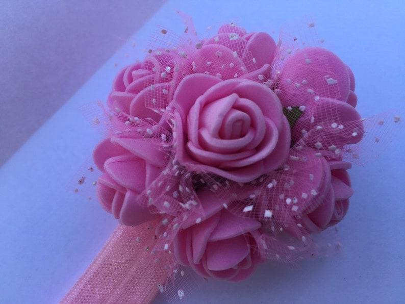 Girls Roses Headband 4 inch by Soapkin