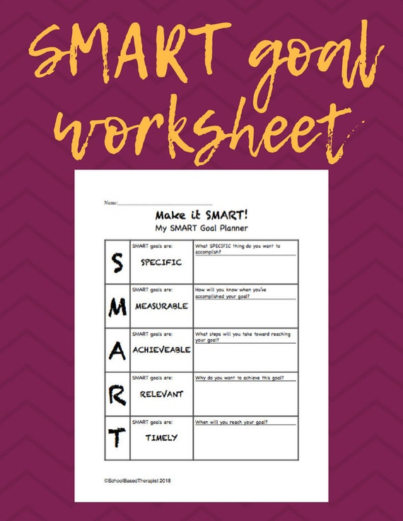 Smart Goal Worksheet Etsy