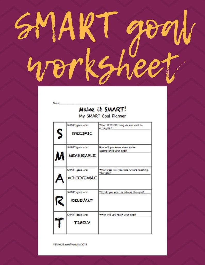 Smart Goal Worksheet Etsy