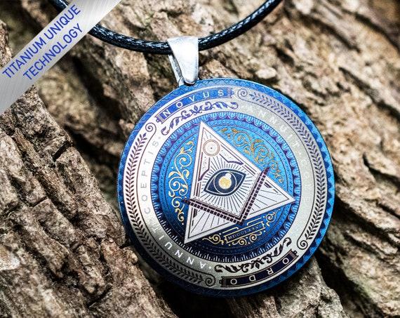 All-Seeing Eye Pendant Knights Templar Jewelry Eye of Providence Pendant Silver Masonic Eye Necklace Freemasonry Pendant,Masonic Pyramid