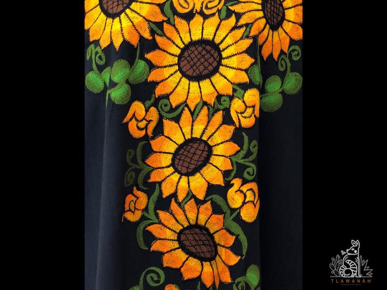 Chiapas dress. Flowers embroidered dress Mexican dress Mexican embroidered dress