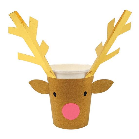 Reindeer Christmas Paper Cups