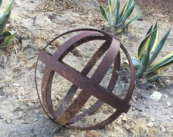Metal Garden Sculpture Sphere Etsy