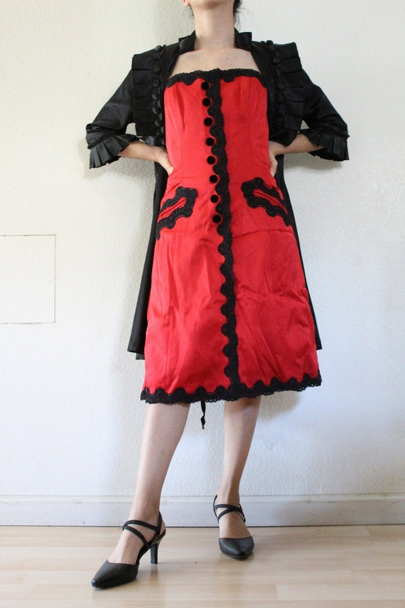 Red Gothic Strapless Dress