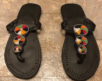 e695c39a2e599 Kenyan Handmade Beaded Maasai African Sandals