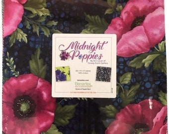 "Benartex Midnight Poppy 10""x10"" Layer Cake from Benartex"
