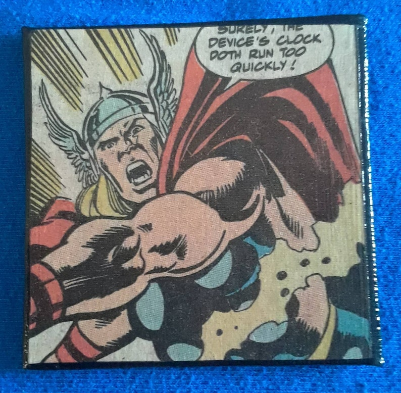 Thor magnet handmade from recycled comic book pages