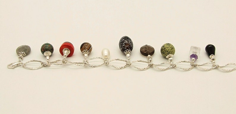 Gifts Of The Earth Sterling Silver Bracelet With Gemstone Charms 2
