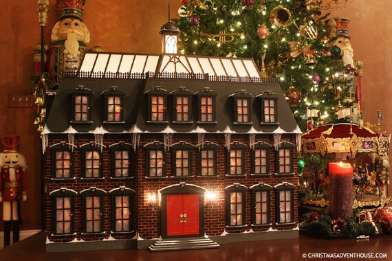 Christmas Advent House.Christmas Advent House Christmas Advent Calendar Wooden Advent Calendar Deluxe Edition