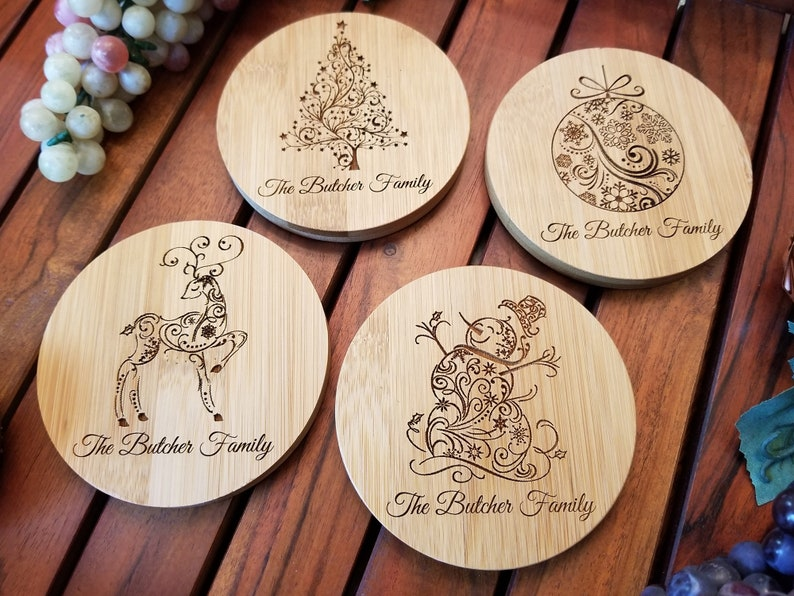 Personalized Christmas Coasters  Set of 4 Custom Christmas image 0