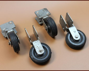 Vintage Metal Wheel, Swivel Casters, For Office Chair Furniture, 4 Antique  Or Old Vintage Wheels, Furniture Casters