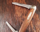 Vintage Robeson Shuredge Senators Pen Folding Pocket Knife Made in USA Wood Handle 2 Blade Plain Edge
