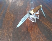 Vintage Sharp Custom Crafted 275 Folding Pocket Knife Made in Japan 2 Stainless Steel Blades Plain Edge Wood Handle