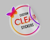 100 Custom Clear stickers, Transparent Labels, Die cut Clear Sticker, Customized Clear Sticker, Product printed stickers, Cosmetics labels