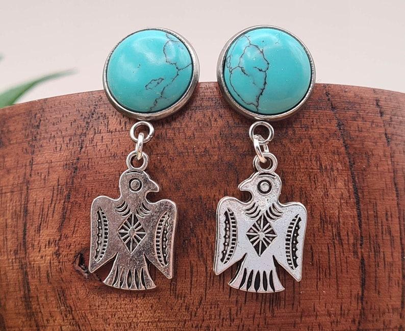 CELTIC earrings in TURQUOISE Odin CORBEAUX  Real fine stone pendants