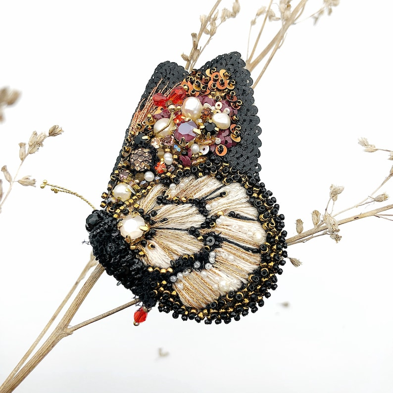 Embroidered beetle brooch Butterfly embroidery design Insect jewelry Christmas gift for her