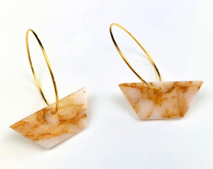 Gold Hoop with Gold Marble Clay Trapeze Dangle Earrings