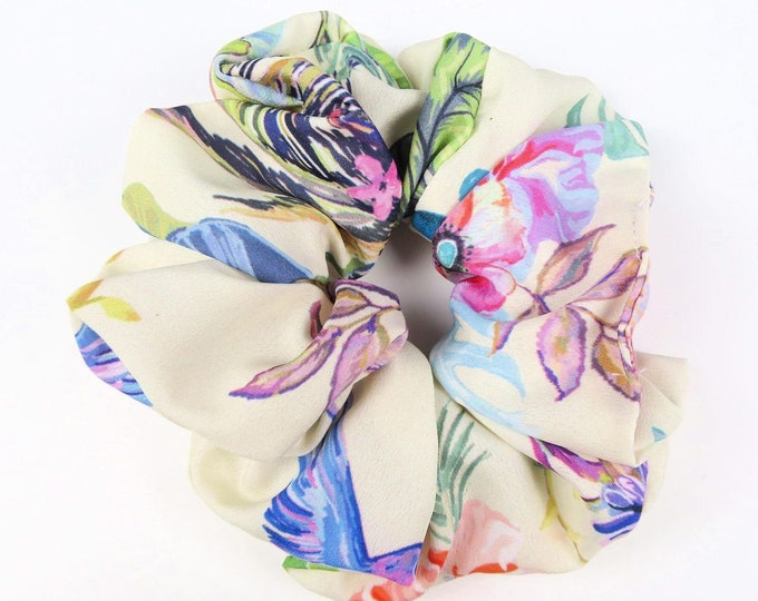 Bright Floral Poly Satin Scrunchie