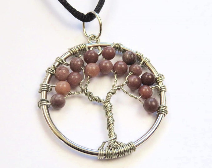 Lepidolite Gemstone Wire Tree Pendant