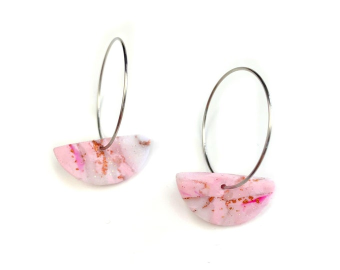 Silver Hoop with Pink and Rose Gold Marble Clay Semi Circle Dangle Earrings