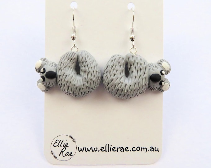 Grey Koala Polymer Clay Dangle Earrings