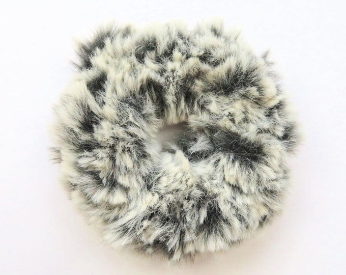Fluffy Crochet Scrunchie - Dark Grey