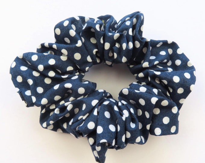 Navy and White Polka Dot Cotton Fabric Scrunchie