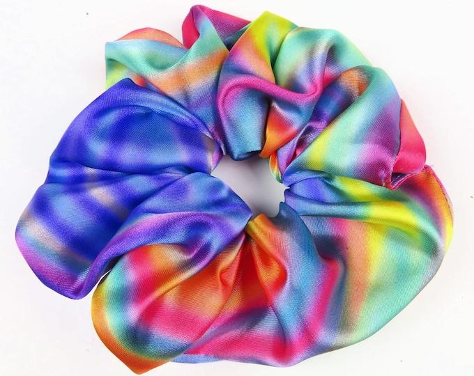 Bright Rainbow Satin Scrunchie