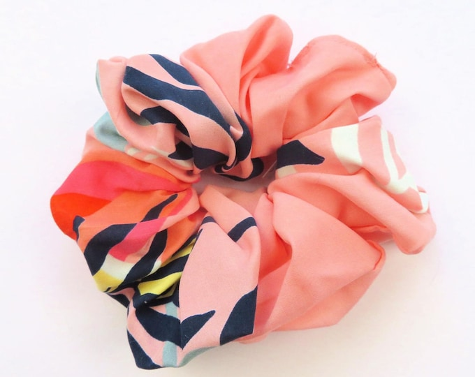 Light Pink Floral Cotton Fabric Scrunchie